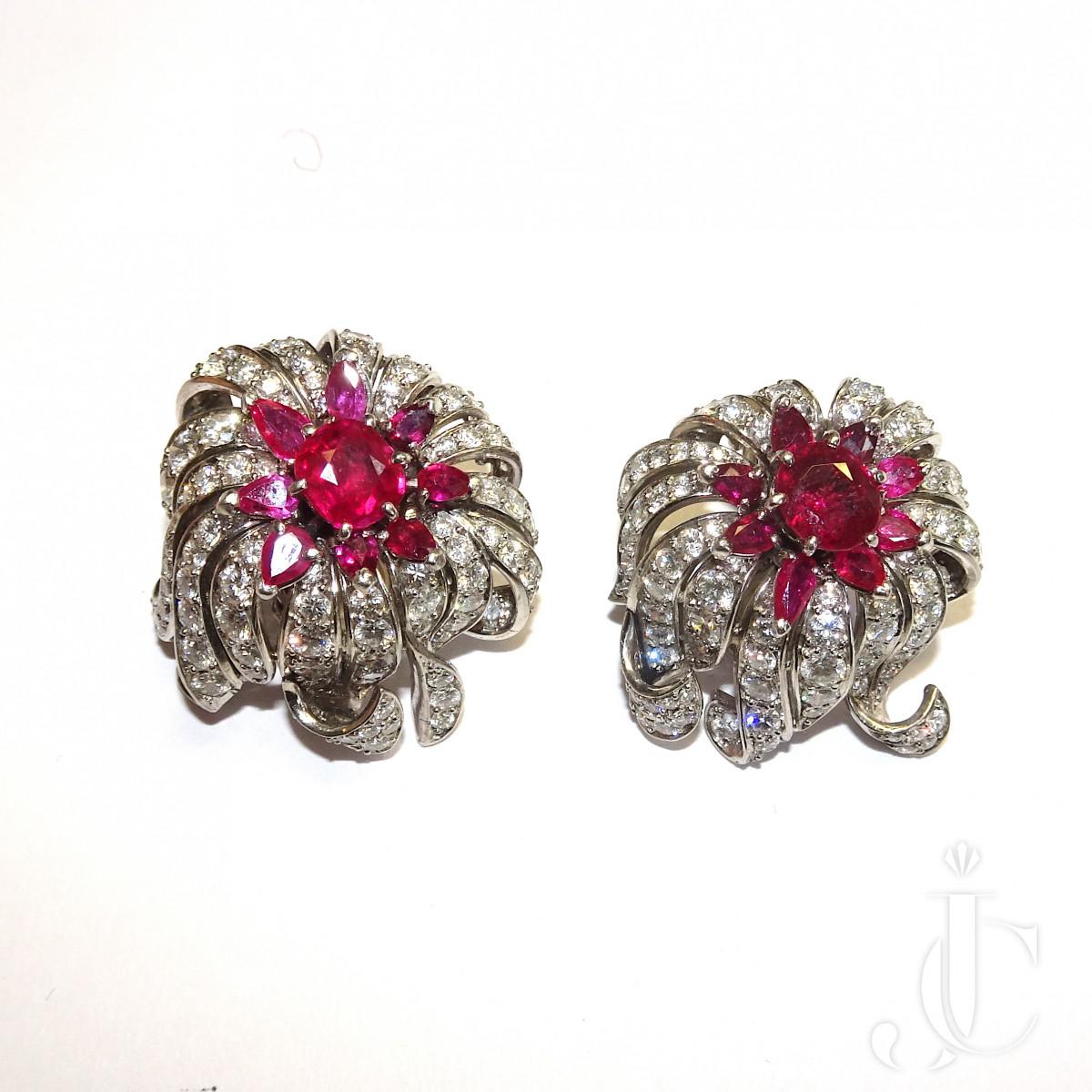 Diamond Ruby Ear Clips