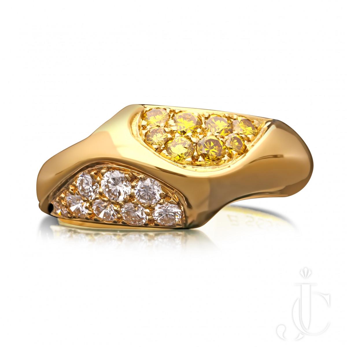 Van Cleef & Arpels Intense Fancy Yellow & White diamond ring c.1980