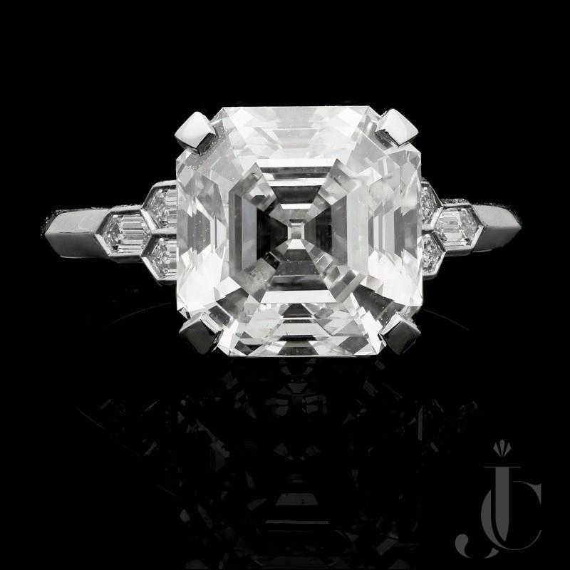 4.58ct G VS2 Old Asscher cut diamond solitaire by Hancocks