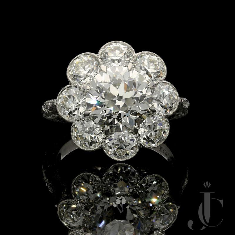 3.14ct J VS1 Old European Cut Diamond cluster ring by Hancocks