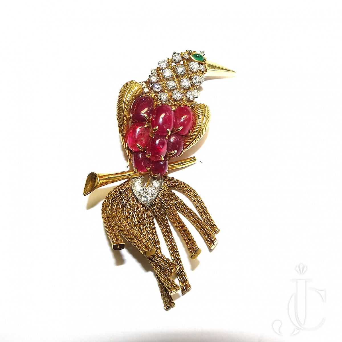 Ruby Bird Brooch