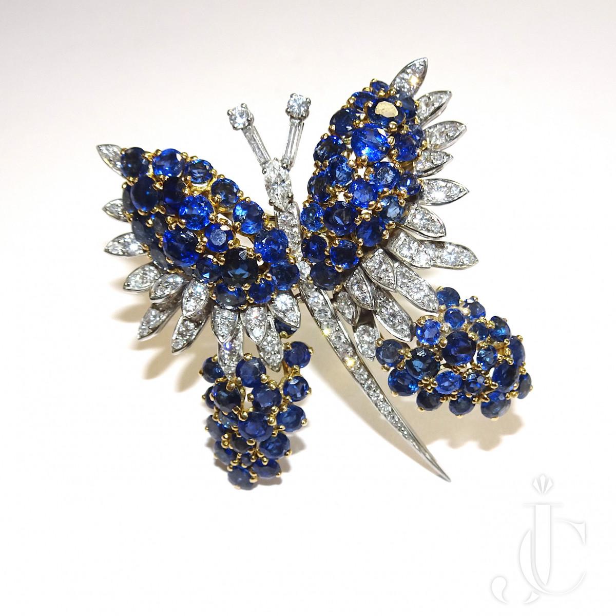Sapphire Diamond Butterfly Brooch