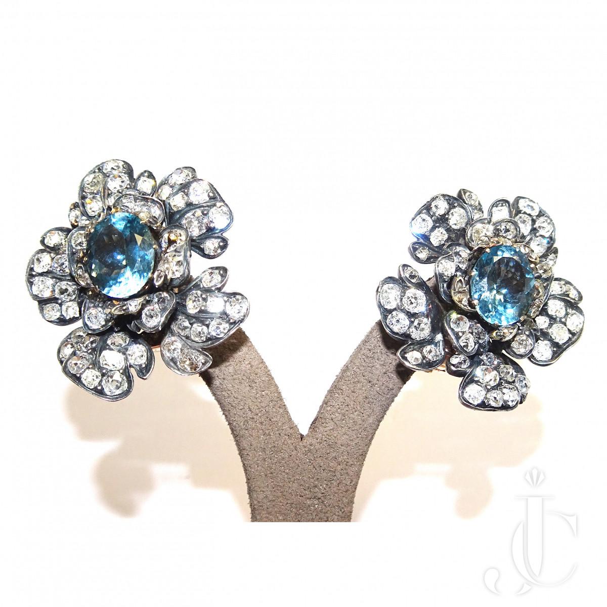 Aquamarine Diamond Flower Ear Clips
