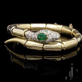 Pavé Diamond, and Emerald Snake Bracelet