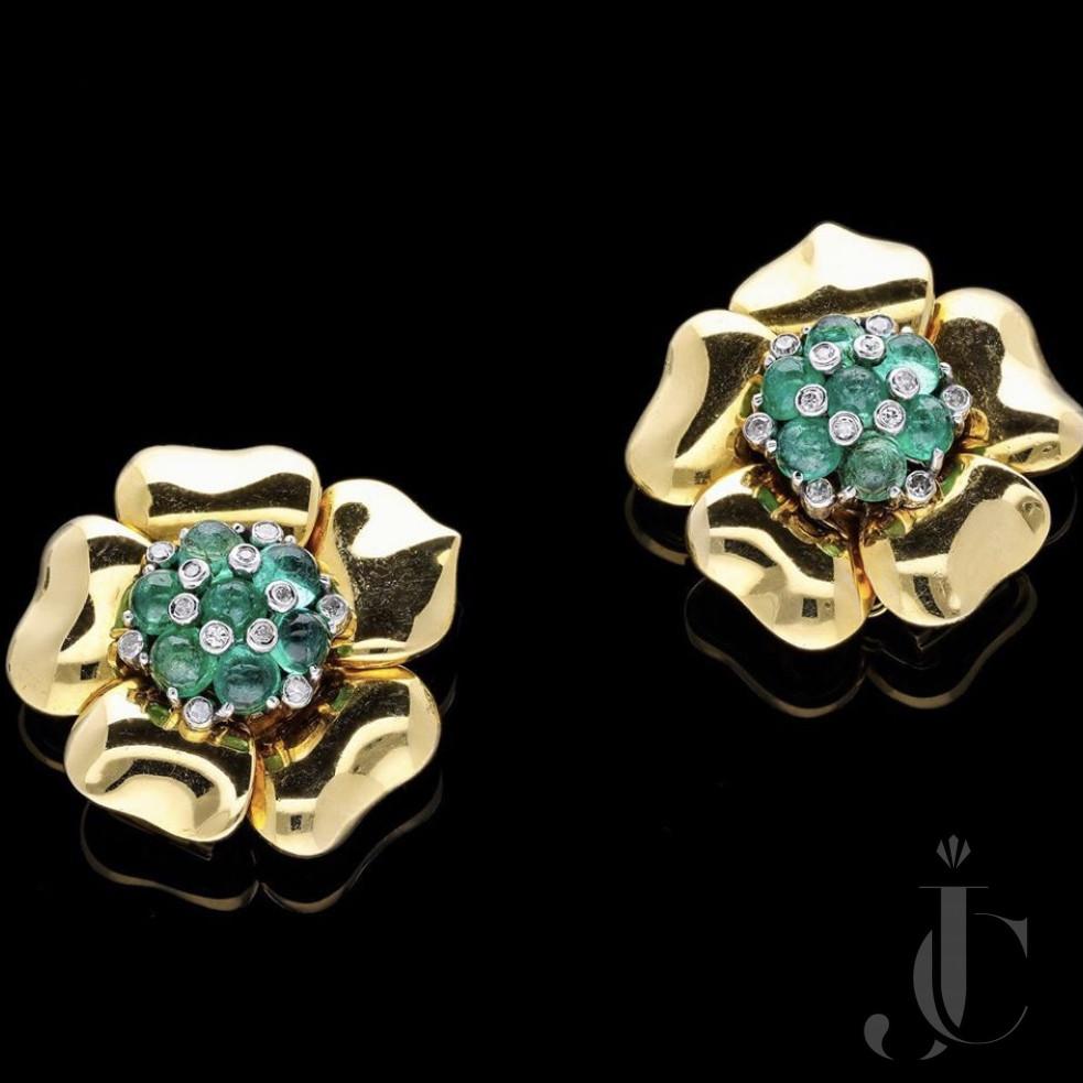 Trabert and Hoeffer Mauboussin Emerald Earrings