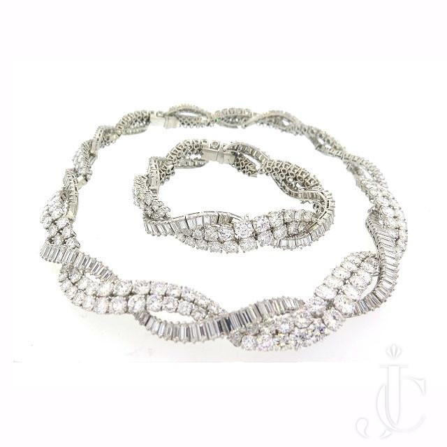 French Platinum Diamond Necklace/Bracelet