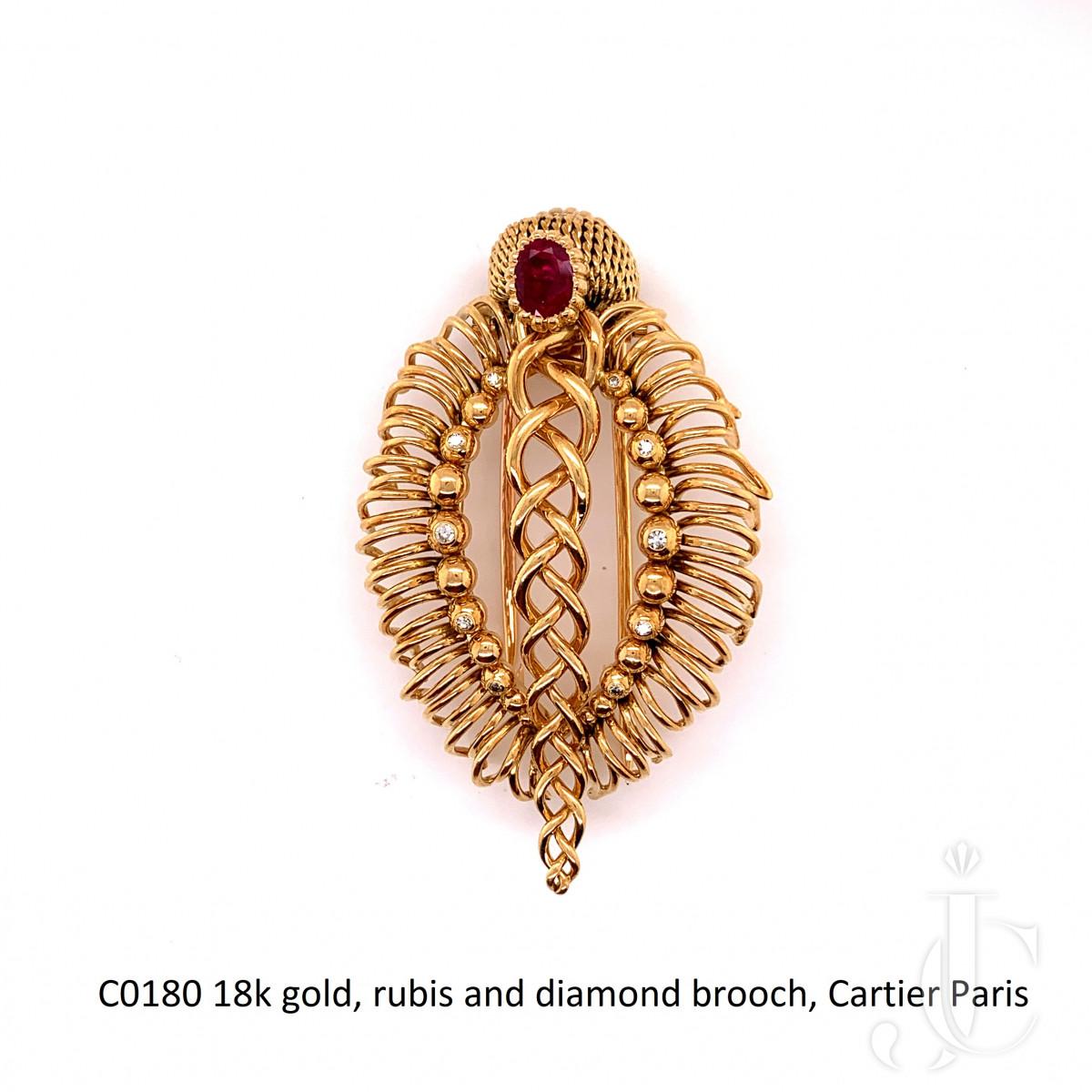 18k gold, rubis and diamond brooch, Cartier Paris