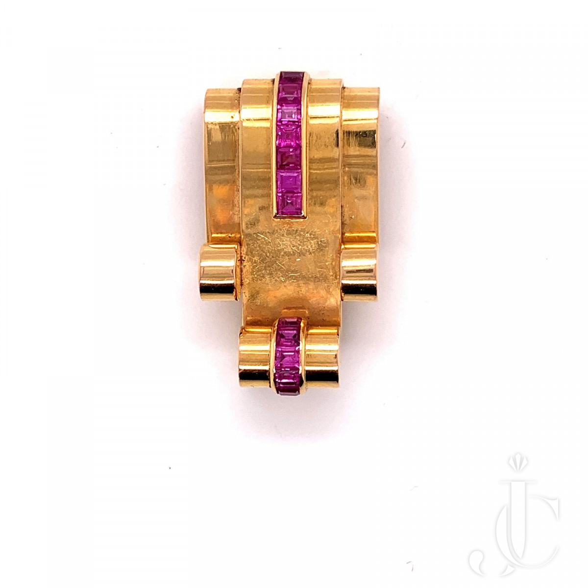 18K Gold French brooch with calibrated ruby by Mauboussin
