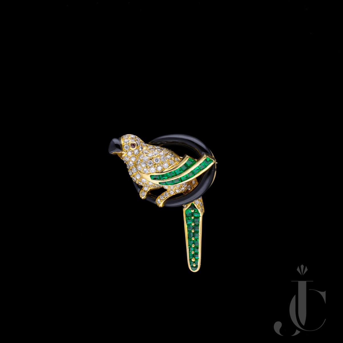 Arfan Paris , Diamond and Emerald Bird Brooch