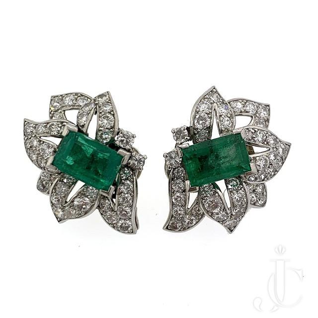 Cartier Deco Emerald Earrings