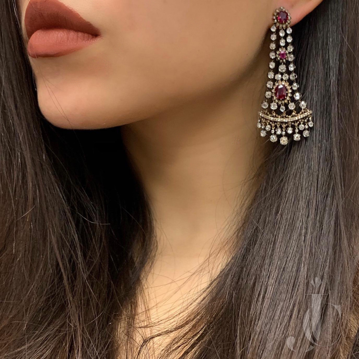 Antique Ruby and Diamond Earrings