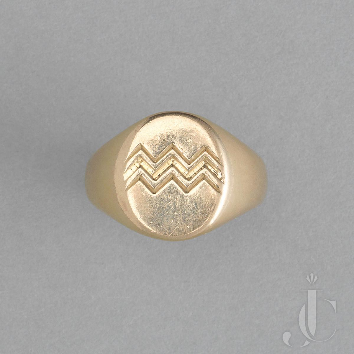 Gold AQUARIUS Zodiac RING