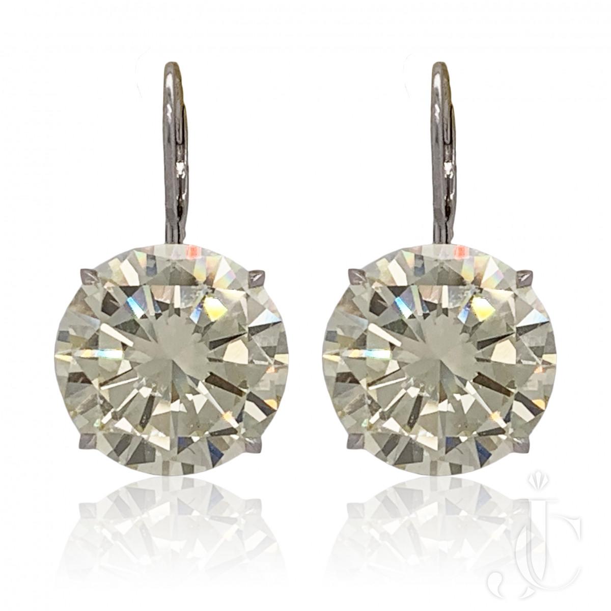 Impressive 19.59cts/19.32cts Cape Diamond Earrings