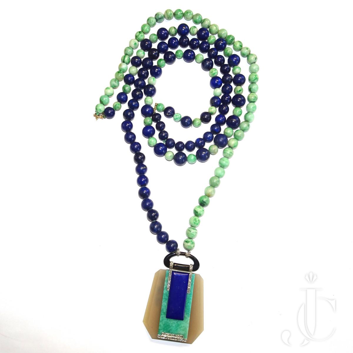 Art Deco Jade Lapis Sautoir