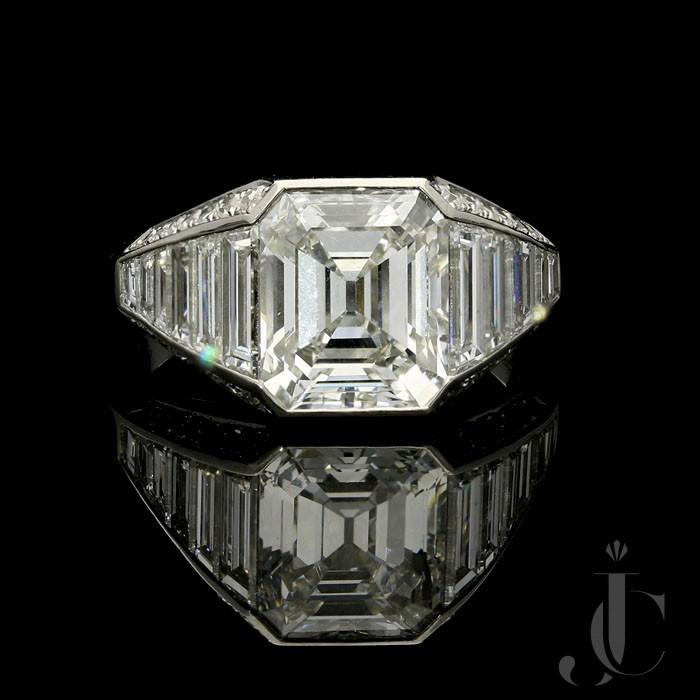 3.02ct G VS1 Old Emerald cut Diamond ring by Hancocks
