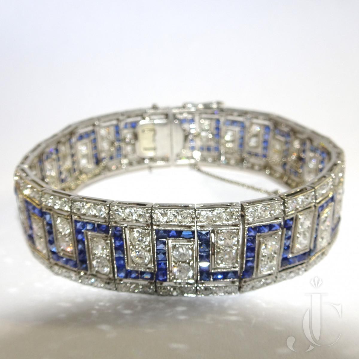 Art Deco Diamond Sapphire Meander Bracelet