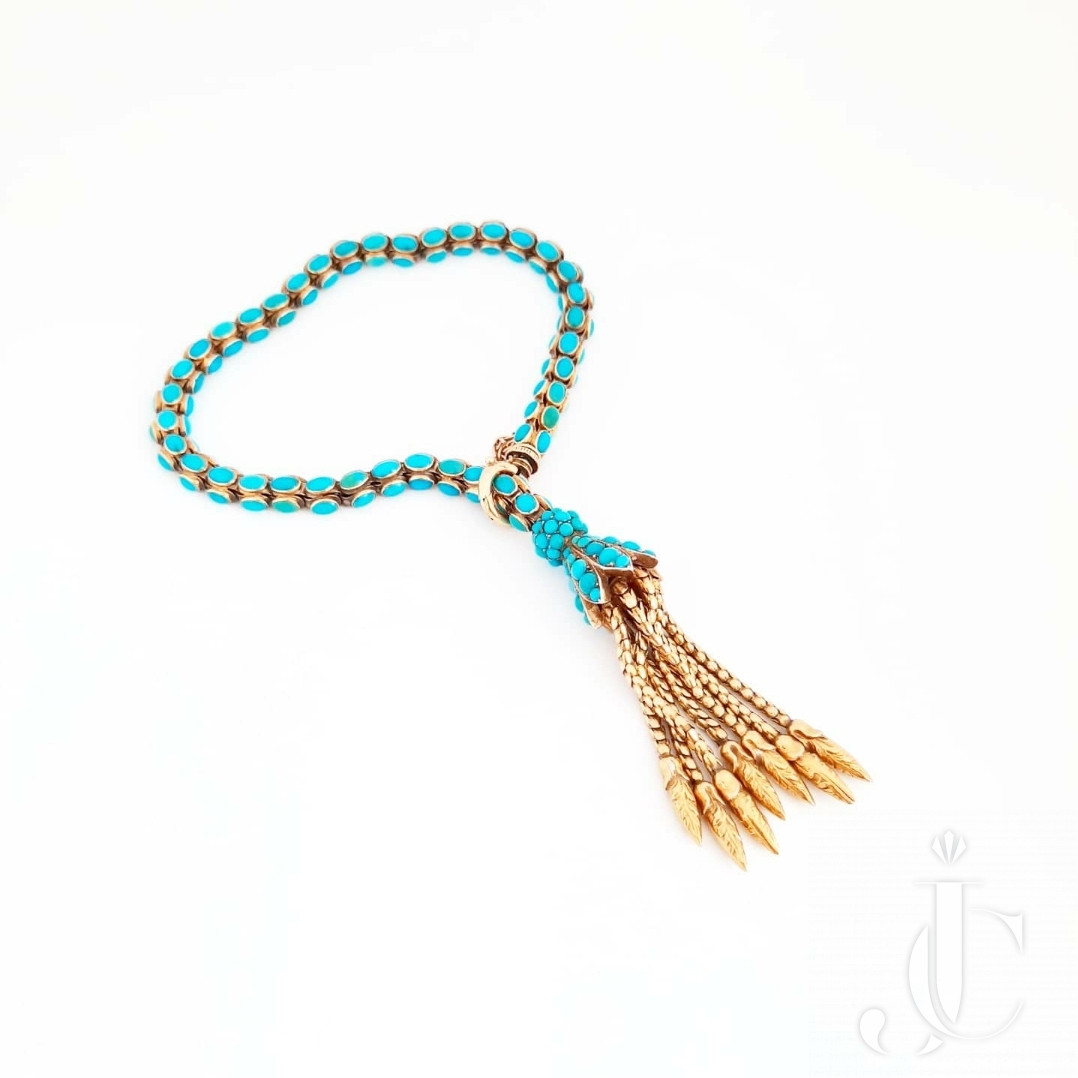 Antique 18kt Turquoise tassel bracelet