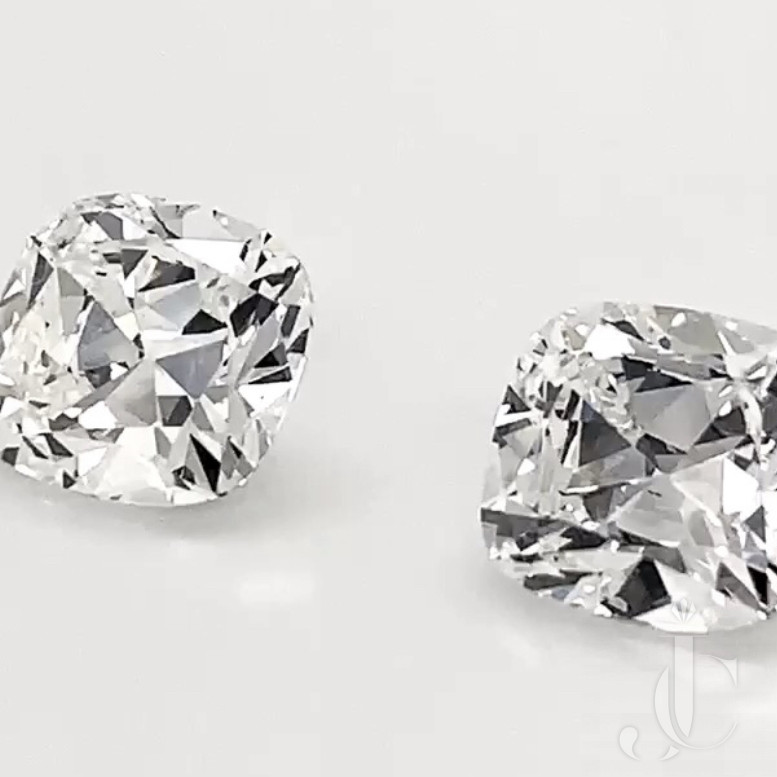 Pair of match antique cut cushions. 9.84cts. TW. Spready plus crisp outlines