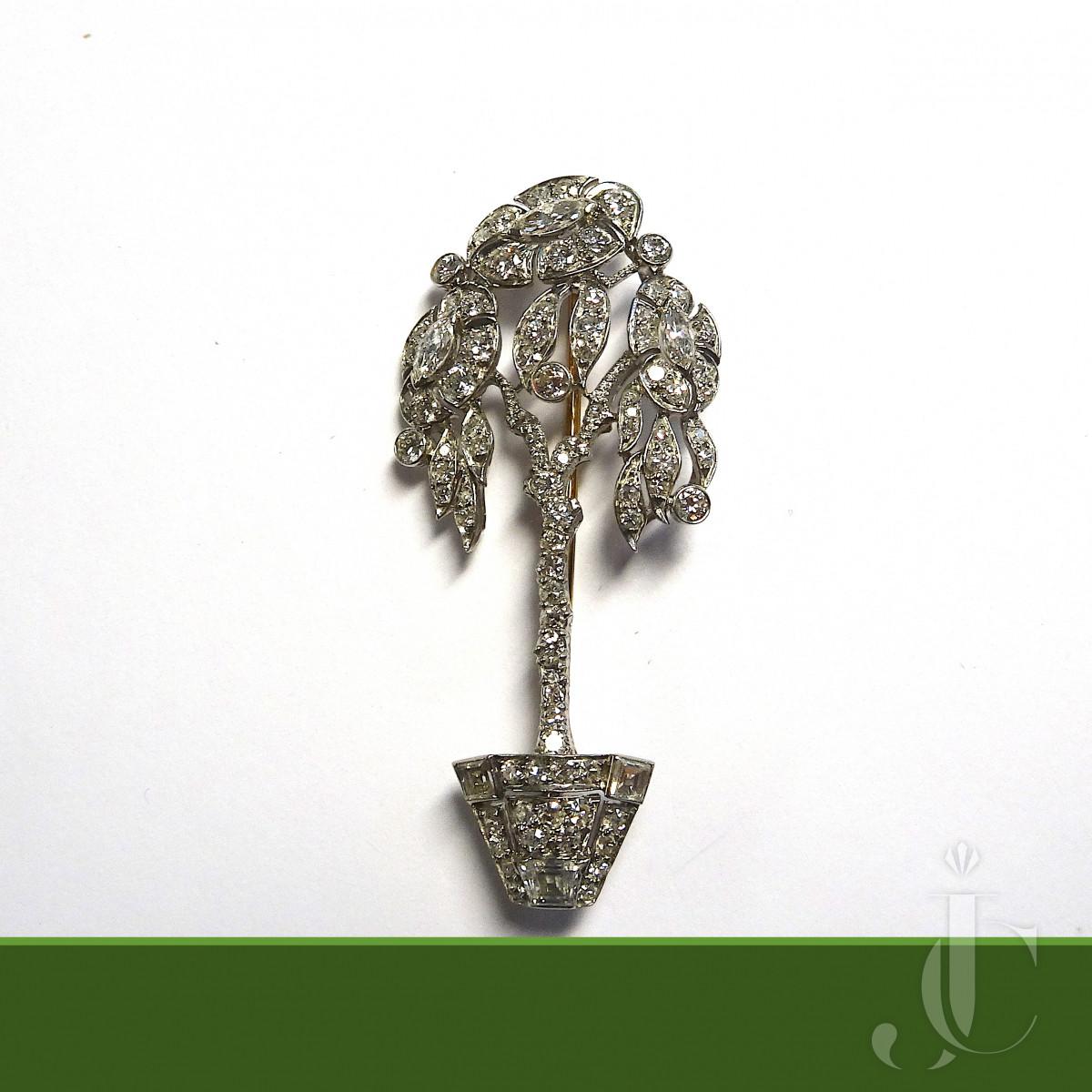 Diamond Tree Brooch