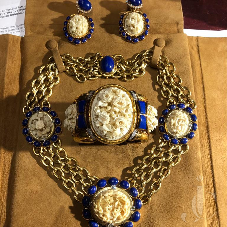 Important David Webb Suite antique carved Ivory and Lapis