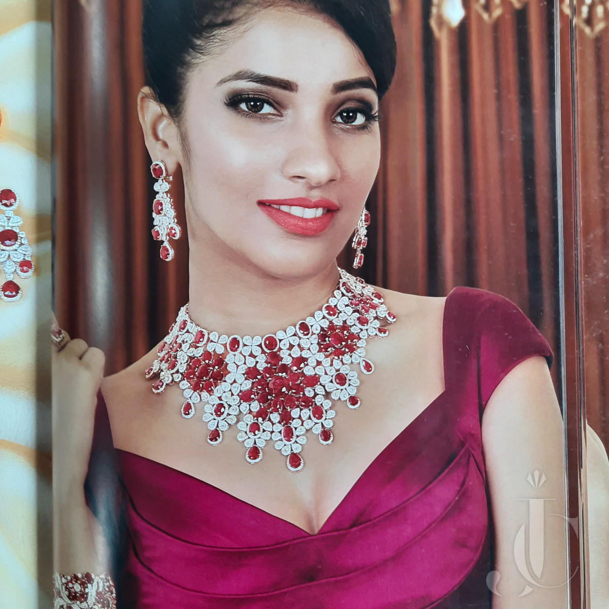 Exclusive Natural Burma Ruby & Diamond Necklace with Earring