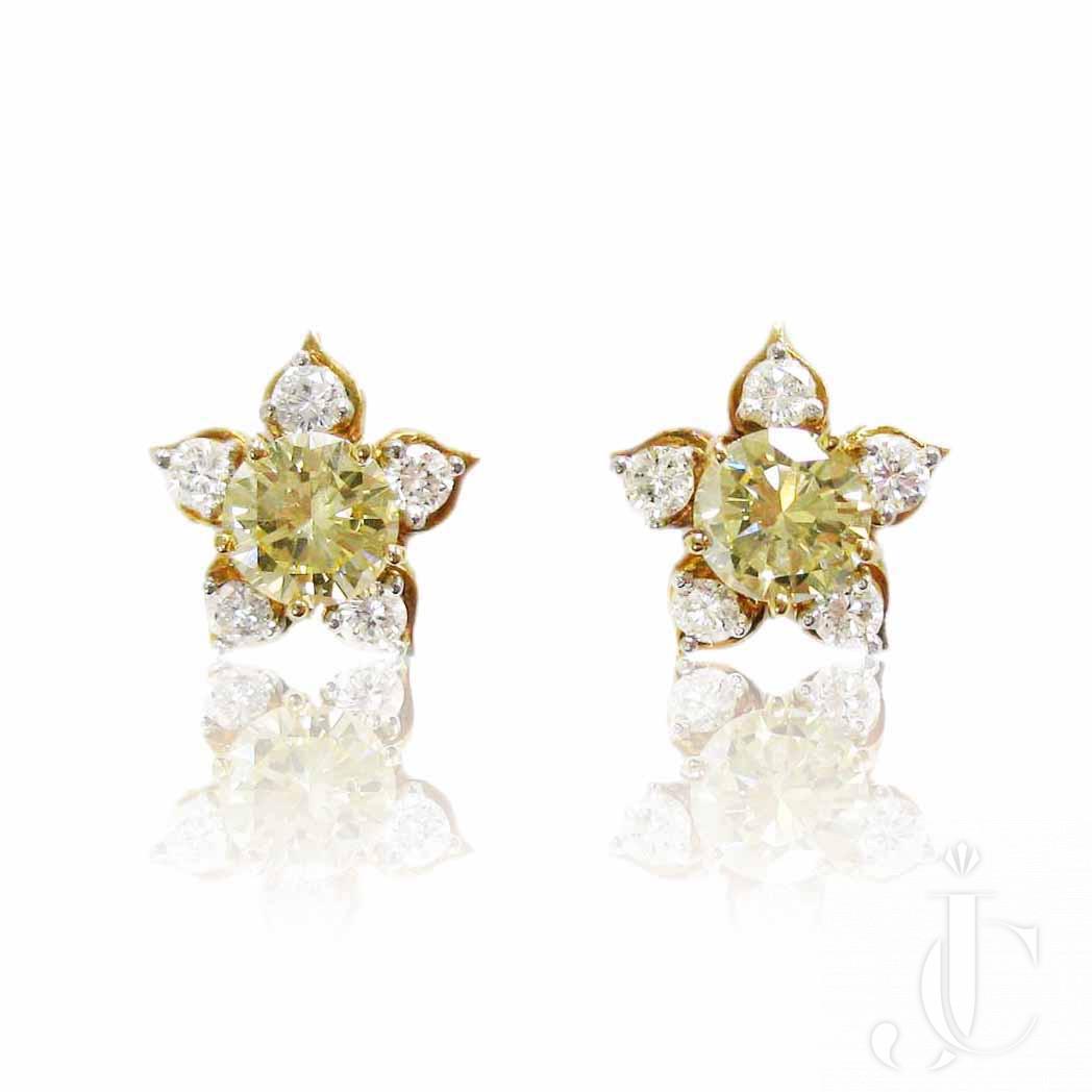 18kt Yellow and White Diamond Earrings, New York, Circa 1965