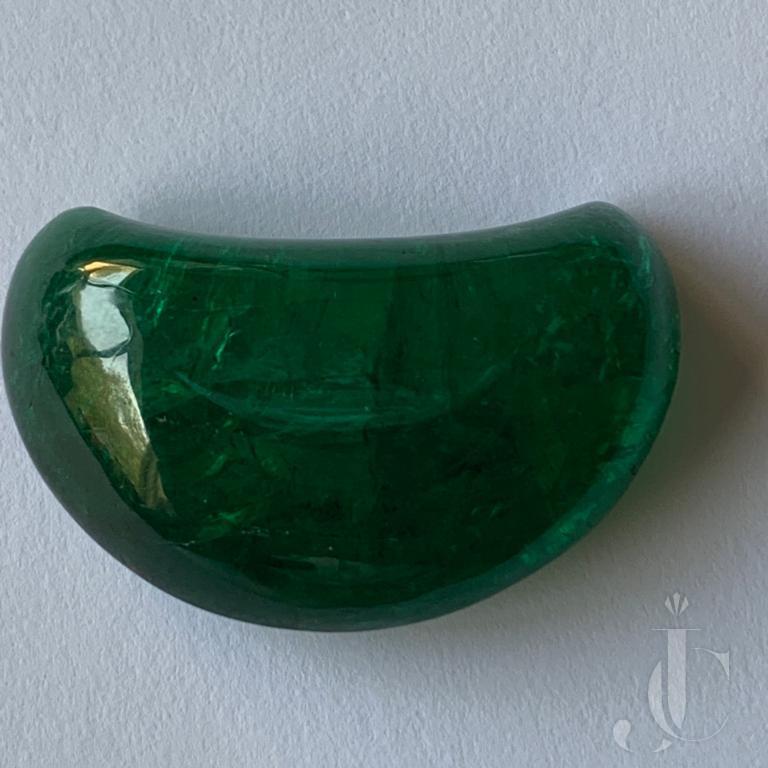 Emerald Half Moon Fancy Shape Cab (Zambian)