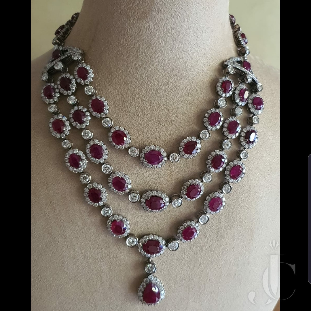 Natural Burma Ruby & Diamond Necklace