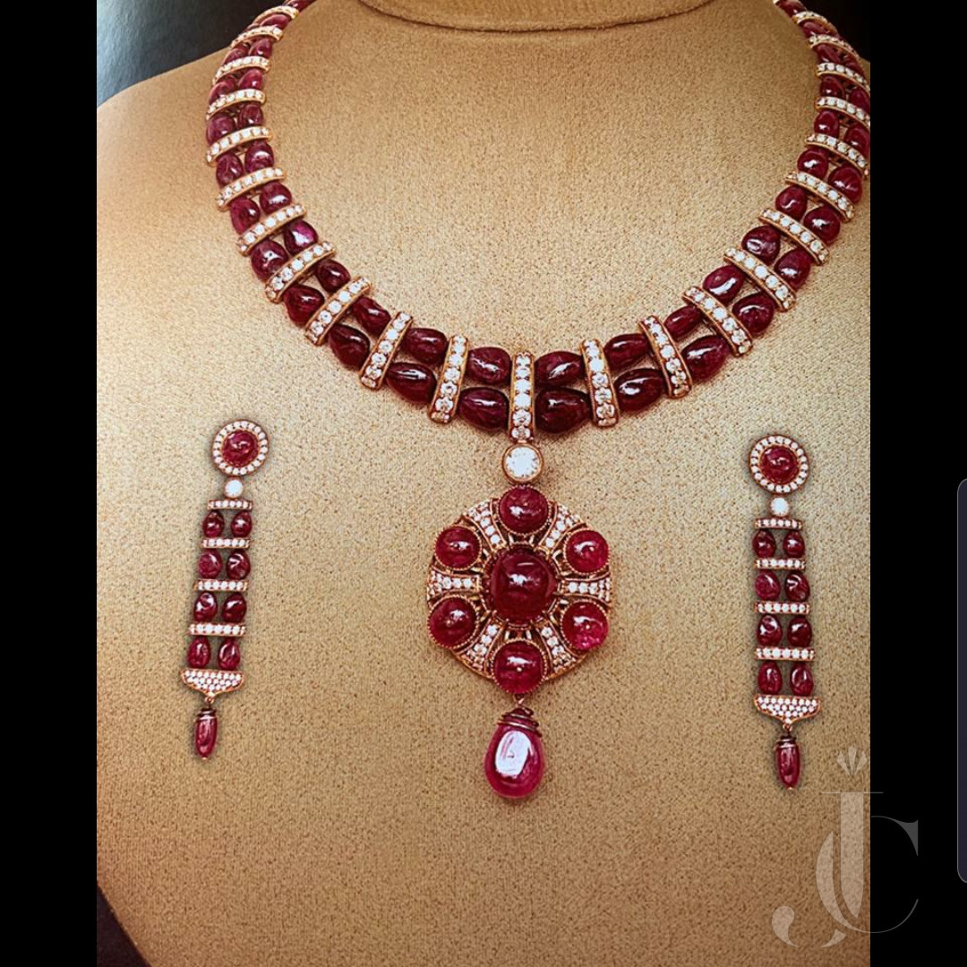 Natural Burma Ruby Necklace with Matching Earing