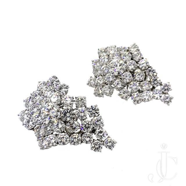 Platinum Diamond Cluster Earrings