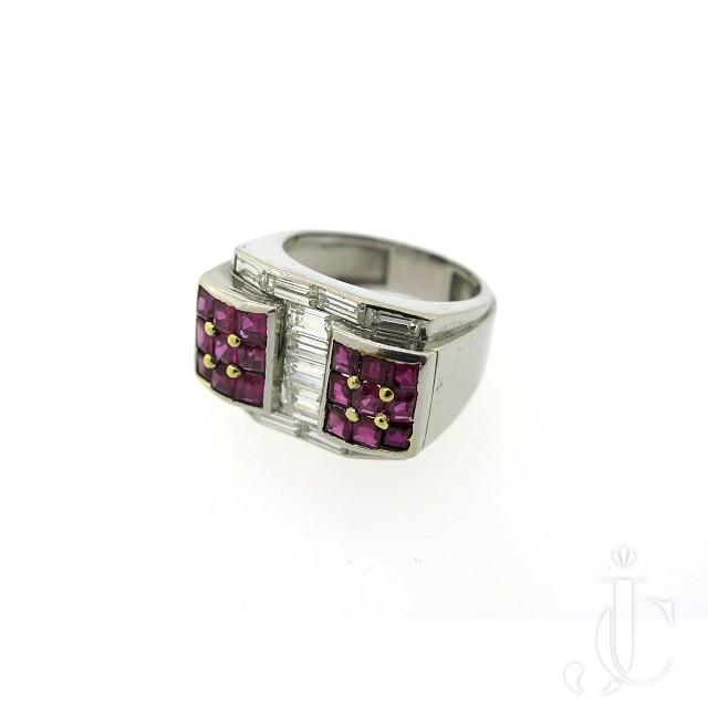 Retro Platinum Ruby Diamond Ring