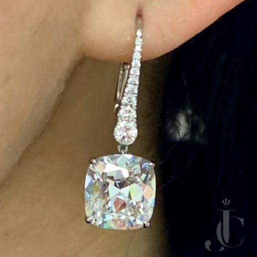 Antique Cushion Diamond Ear drops