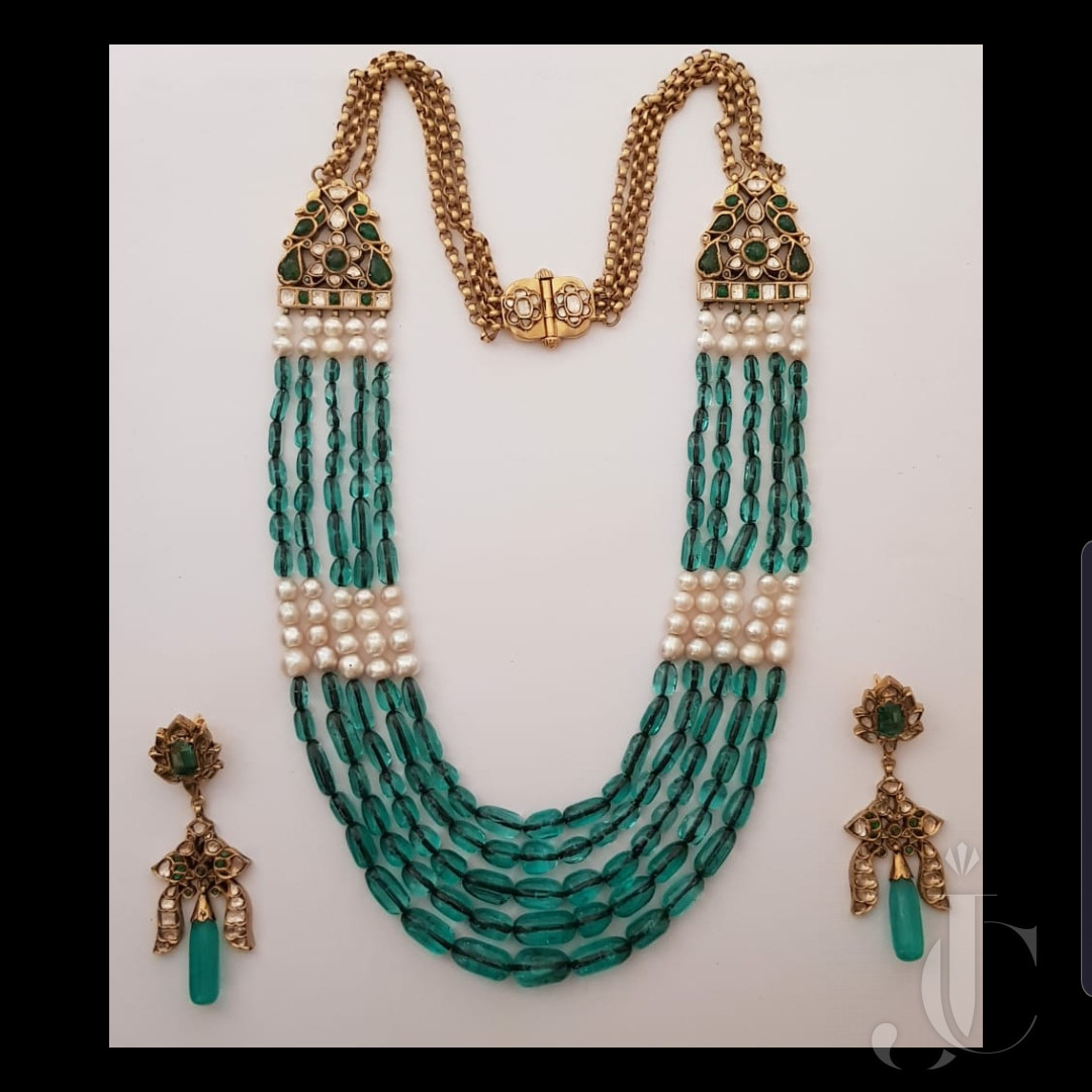 Colambian 5 Line Emerald Bead Necklace & Earing with Natural Salt Water Pearl