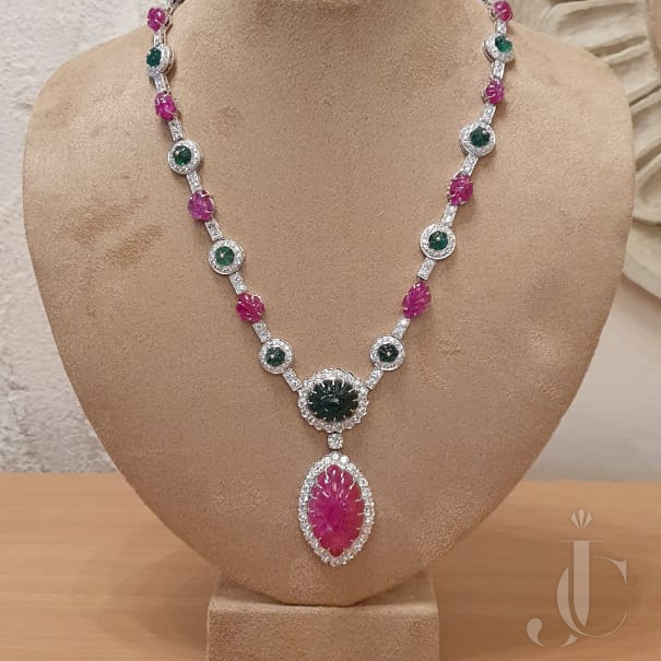 Carved Burma Ruby lot & Carved Emerald Bead Necklace with Diamond