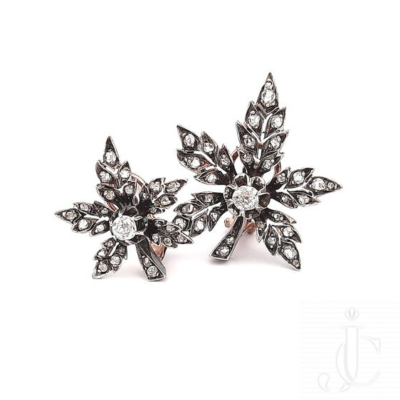 19th Century Antique Floral Earrings