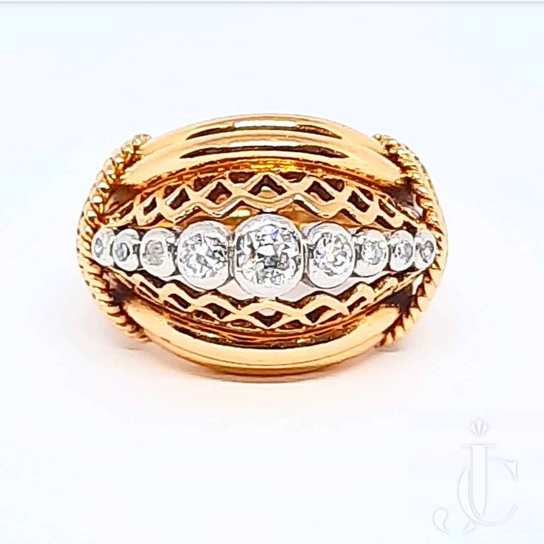 Mid Century Retro Moderne Gold and Diamond Domed Dress Ring
