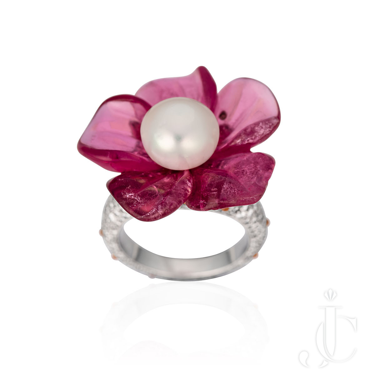 TAFFIN Natural Pearl, Carved Tourmaline, Platinum and Diamond Flower Ring