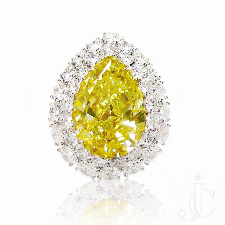 Fancy Vivid  Yellow Pear Shape, VS1 Clarity 5.88 cts