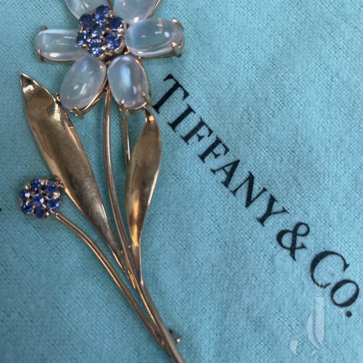 Tiffany & Co Retro Moonstone & Sapphire pin. C. 1940