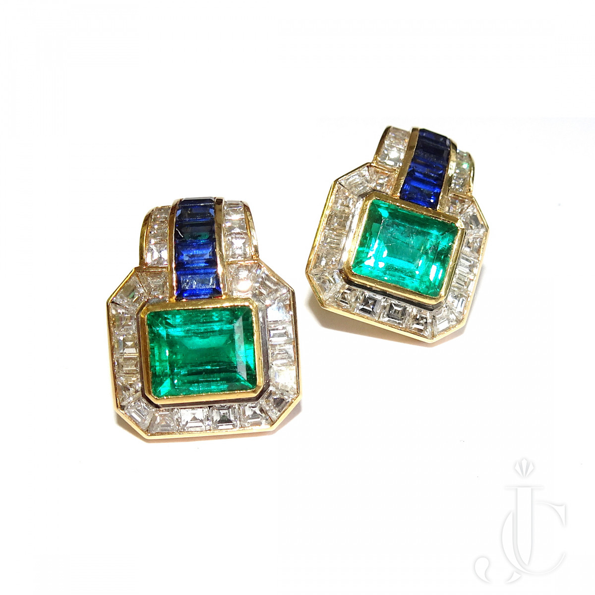 Emerald Ear Clips