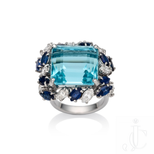 Mid century aquamarine, sapphire and diamond platinum dress ring