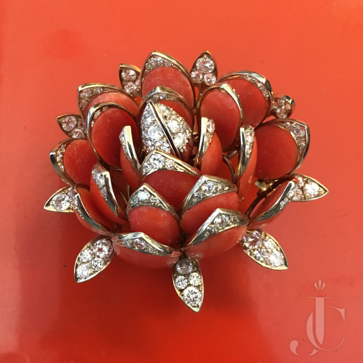 Coral Diamond Water Lily Brooch