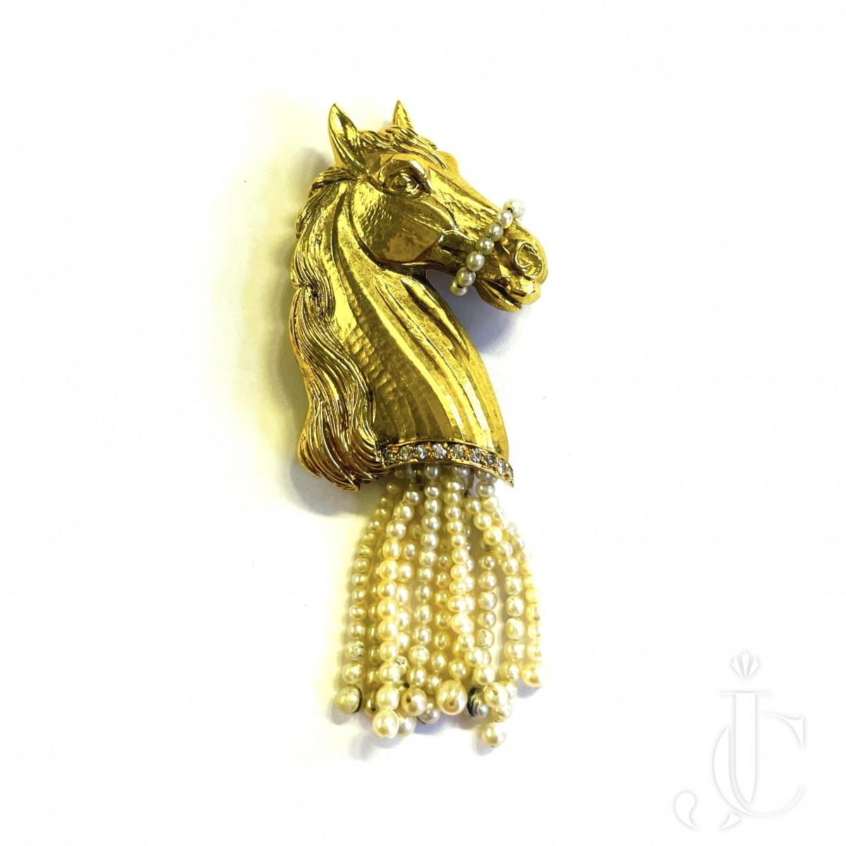 Gold Horse Brooch