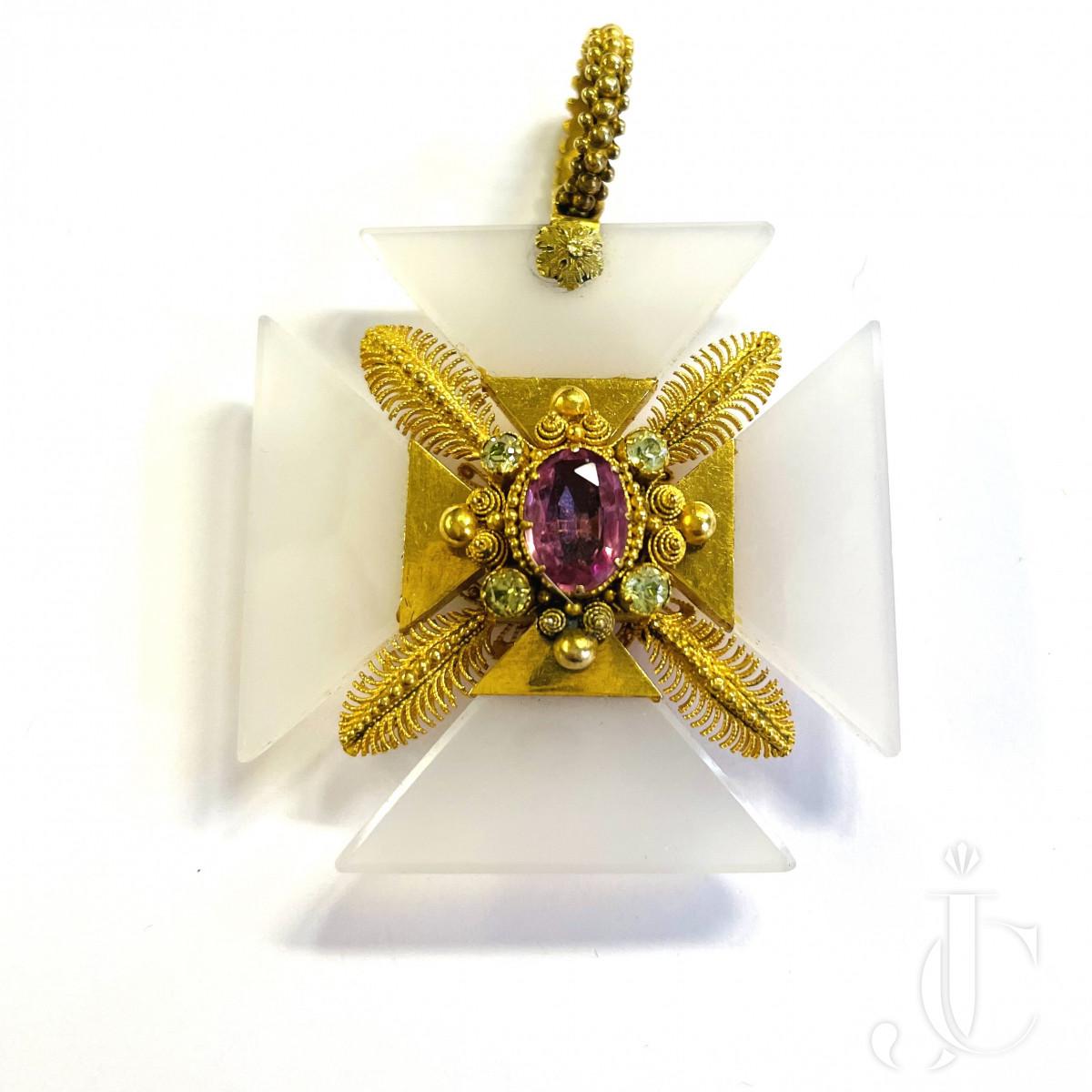 Agate Gold Cross Pendant
