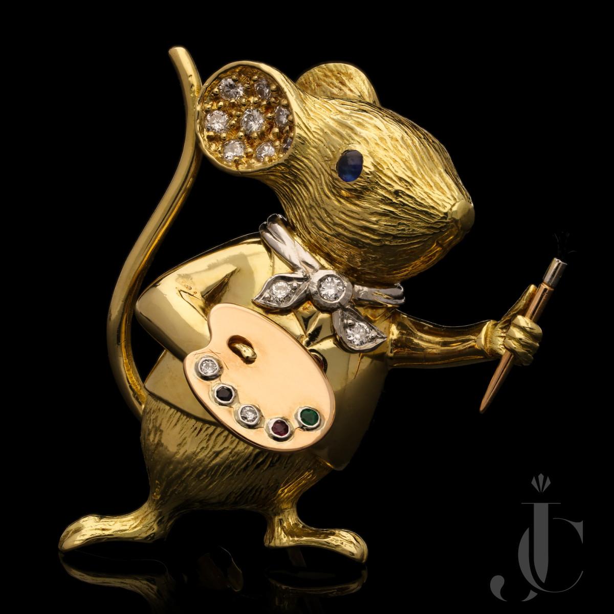 E Wolfe - Diamond & gem Artist Mouse brooch c1990