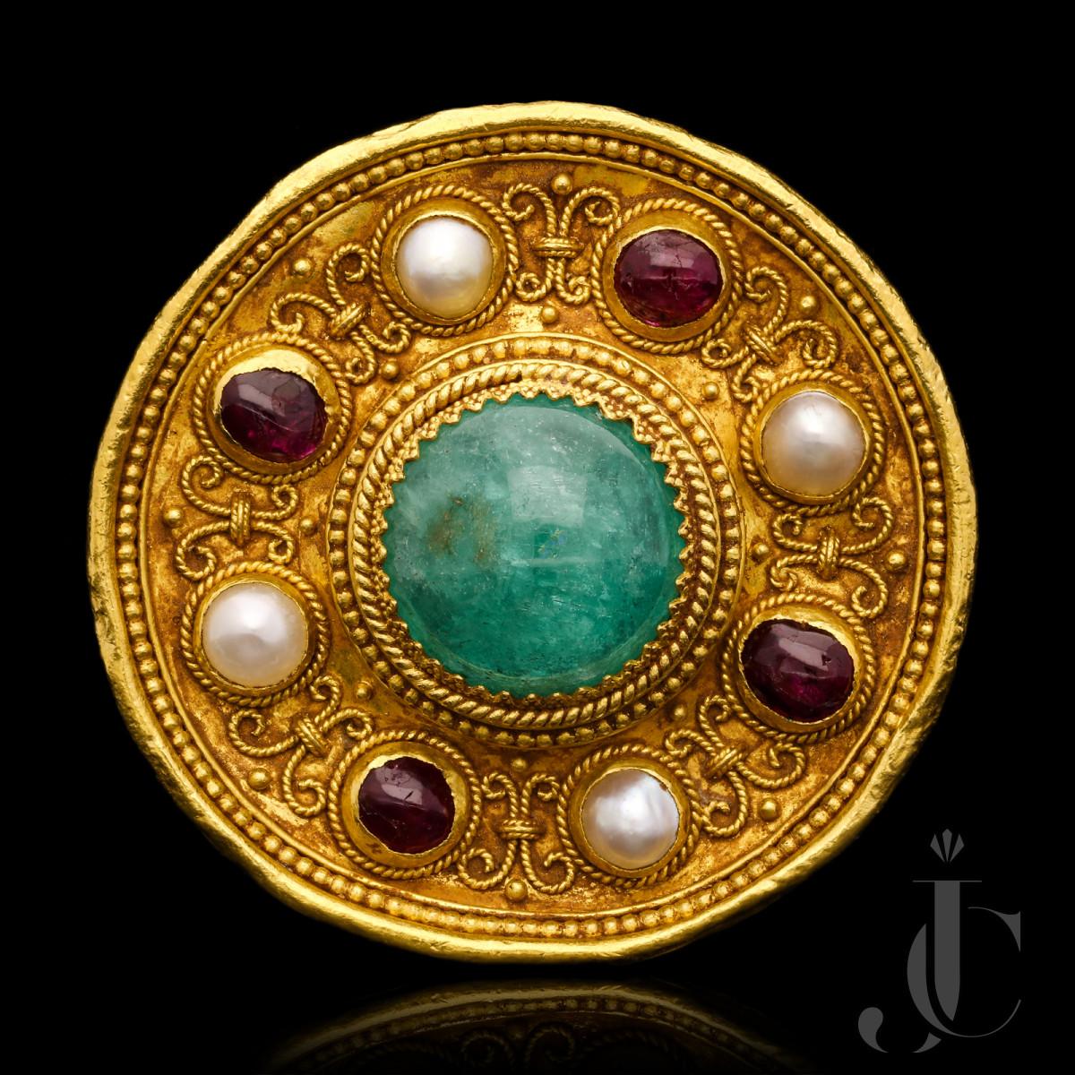 Wiese - Cab. Emerald, Ruby & Nat. Pearl brooch c.1880