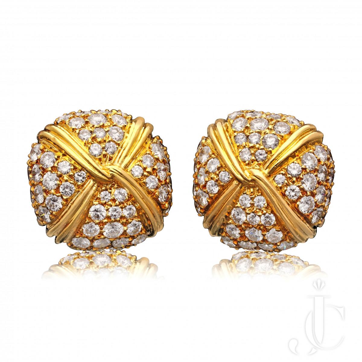 Georges Lenfant Pave set diamond 18ct gold earrings
