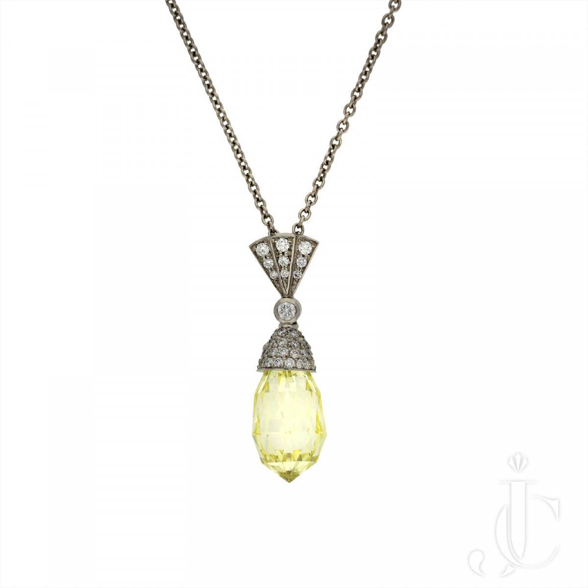 4.50ct Fancy Yellow Briolette Diamond pendant