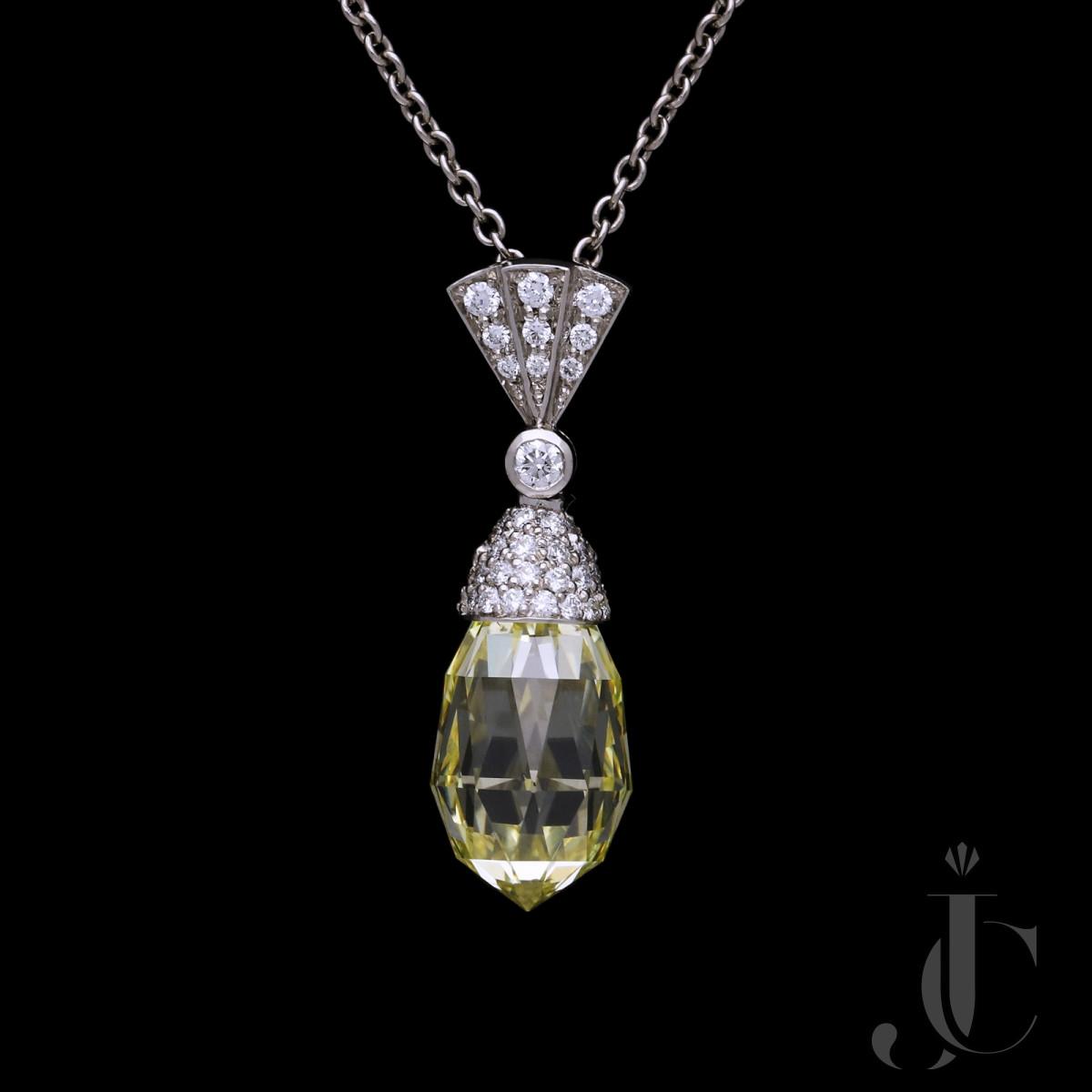 4.50ct Fancy Yellow Briolette Diamond