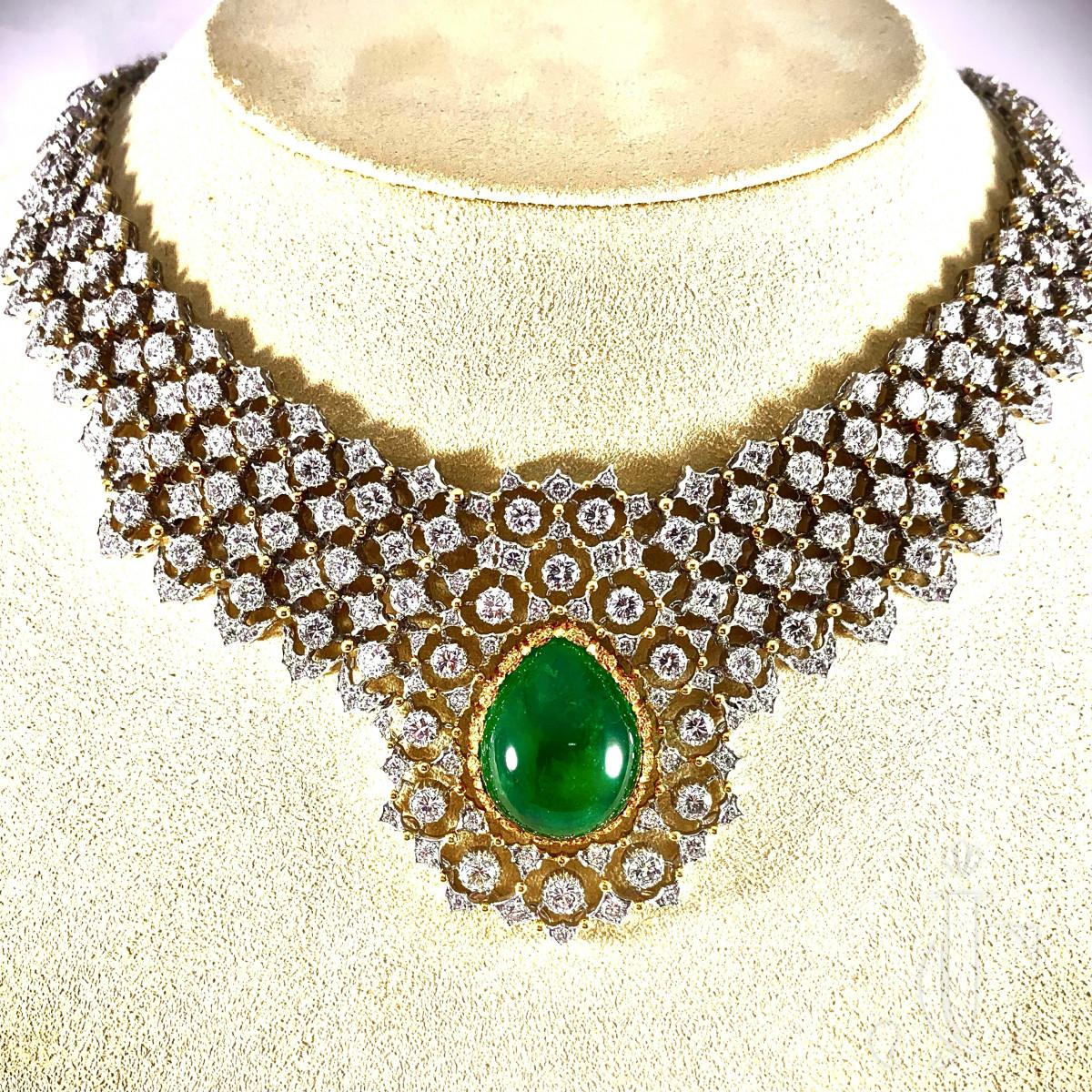 Gianmaria Buccellati Cabochon Emerald and Diamond Necklace